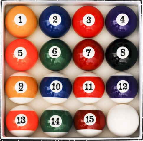 Case of 6 - Art Number Style Pool Table Billiard Ball Sets